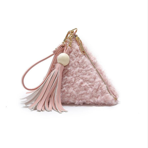 f34664f07d Faux Fur Women Bags Soft Plush clutch bag Coin Chain handbag Sweet Lady 4  Colors Wallet e Clutches coin purse
