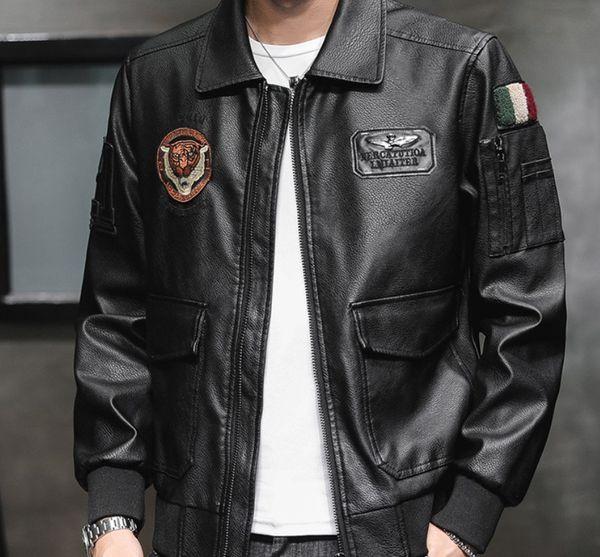 Wholesale designer mens clothes Winter Mens NASA Flight PU leather Jackets Autumn Spring Faux Leather Lapel Neck Motorcycle Jackets Coats