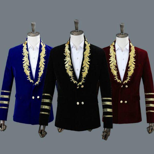 Korean version of velveteen embroidered suit three-dimensional dress host singer nightclub suit jacket photo studio pho