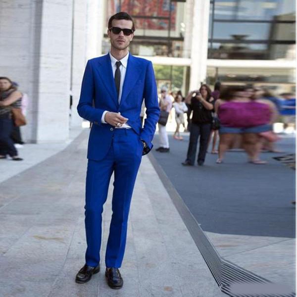 2019 Royal Blue Two Button Slim Fit Wedding Tuxedos Notched Lapel 2 Pieces Men's Formal Blazer(Jacket+Pants)
