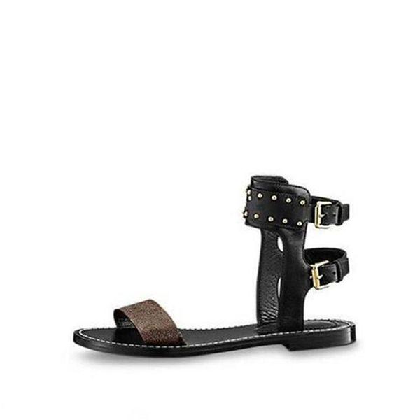 Kutu Toz Torbası Tasarımcı Lüks Baskı Deri Nomad Sandal Kaymaz Gladyatör Taban Düz Kahverengi Sandalet Yaz Patent Buzağı Deri 0L3v