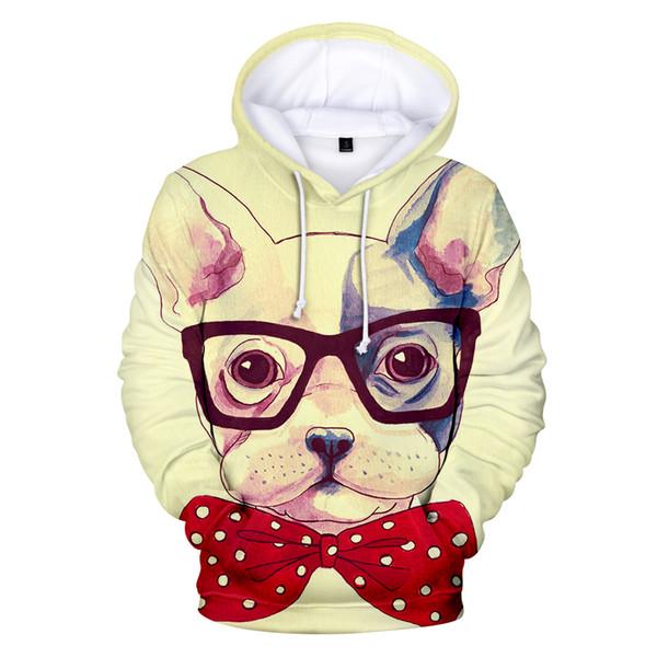 3D Sevimli Fransız Bulldog Hoodies Tişörtü Erkekler / Kadınlar Sokak Giyim Harajuku 3D Baskı Uzun Kollu Casual Genç Insanlar Moda Tops