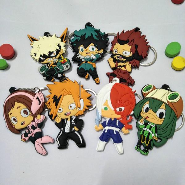 Top Cheap My Hero Academia Keychain Cute 7 Styles Key Chains Pendant Anime Accessories PVC Cartoon Soft Key Ring Chaveiro
