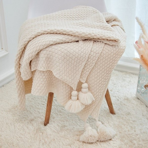 Plain Air Conditioning Travel Blanket Knitted Blanket for Bed Sofa Cover Home Textile Throw Blanket Anti-Pilling Portable