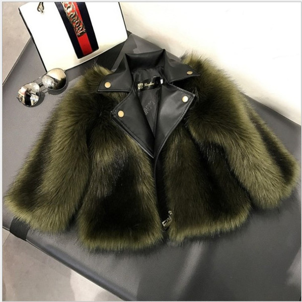 top popular New Arrivals Short Style Girl Fur Coat Jacket Imitation Fox Artificial Fur Grass High Quality Plush+Leather Winter Kids Baby Girl Outwear 2021