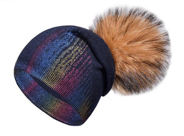 Explosive section knitted cashmere color gold hat autumn and winter fashion braid hair ball knit hat cashmere hot stamping double cap