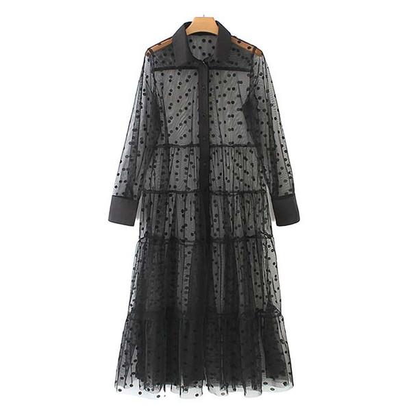 Kadınlar Şık Puantiyeli Patchwork Şeffaf Midi Gömlek Elbise Uzun Kollu Kadın Chic Seksi Örgü Elbiseler Vestidos