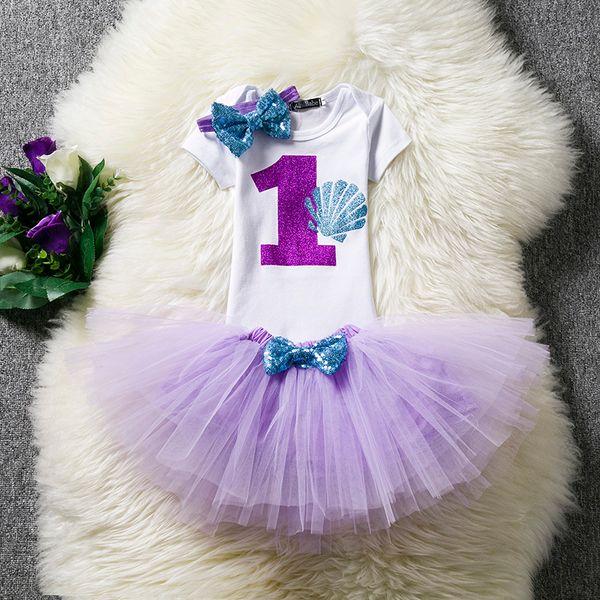 İlk 1st Doğum Günü Elbise Kıyafetler Bebek Kız Tutu Setleri Bebek Giyim Takım Elbise Çocuklar Çocuklar Için Giysi Mor Küçük Prenses Kostüm
