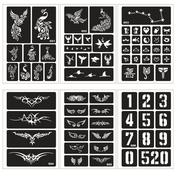 Tatuagens temporárias Estênceis Lençóis Meninas e Mulheres Modelos de Kit de Tatuagem Rosto Stencil Body Art Stencil Pack