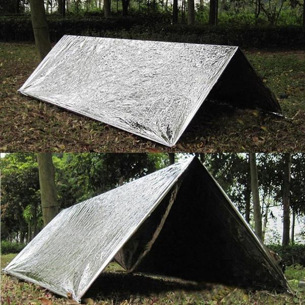 Camping en plein air de survie Reflective Abri Couverture Tente d'urgence Isolation Sac de couchage protection solaire étanche Tapis de sol #sx