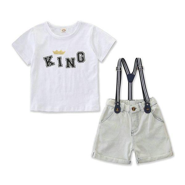 Perakende erkek şort set 2 adet suit setleri boyletter baskılı gömlek + askı kot kısa bebek eşofman çocuk giysi tasarımcısı butik kıyafetler
