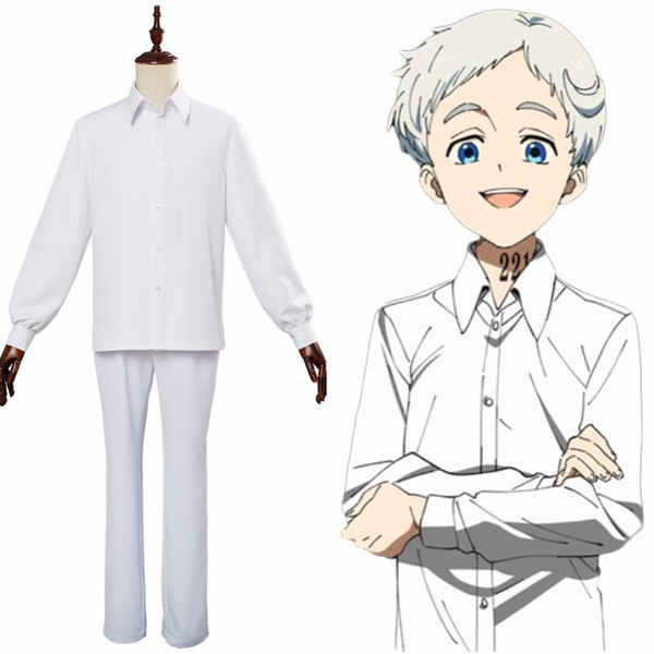 Anime The Promised Neverland Norman Ray Costume Cosplay Uniforme scolastica Camicia Pantaloni Uomo Costume di carnevale di Halloween Ragazzo adulto