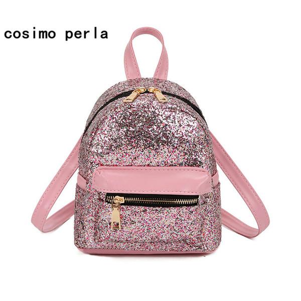 Cute Korean Mini Backpacks for Little Girls PU Leather Fashion Women Daypack Sequins Glitter Bling Shiny Rucksacks Purses 2019