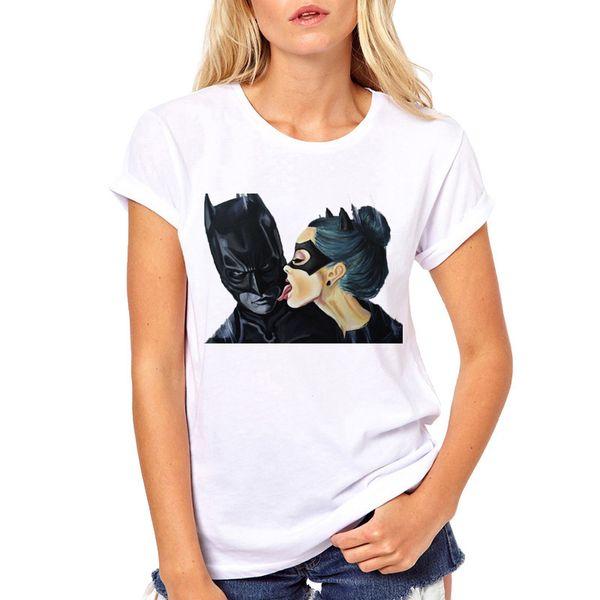 Maglietta da donna estiva Harajuku bianca Maglietta anime Cartoon e Catwoman Maglietta in cotone Vintage Plus Size Maglietta femminile ragazza