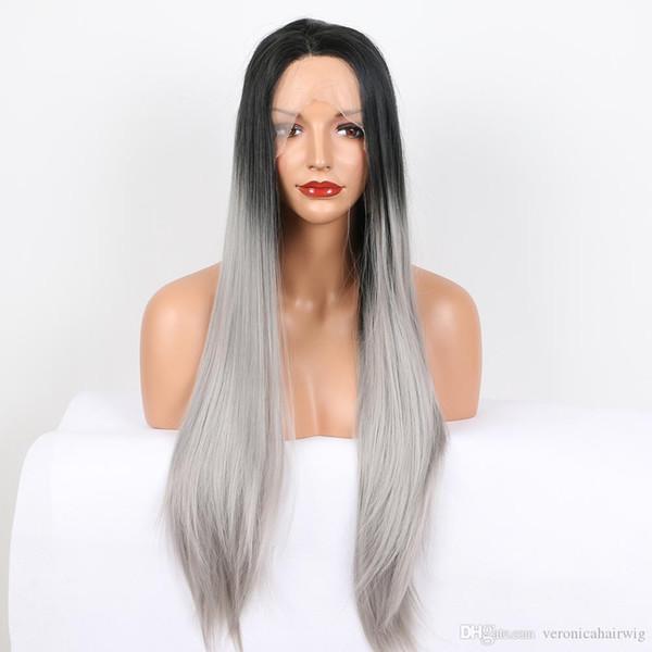 Freies Verschiffen Ombre Grau Farbe Seidige Gerade Lange Perücken 2 Töne Mittelteil Synthetische Lace Front Perücken Hitzebeständige Faser Haar 180% Dichte