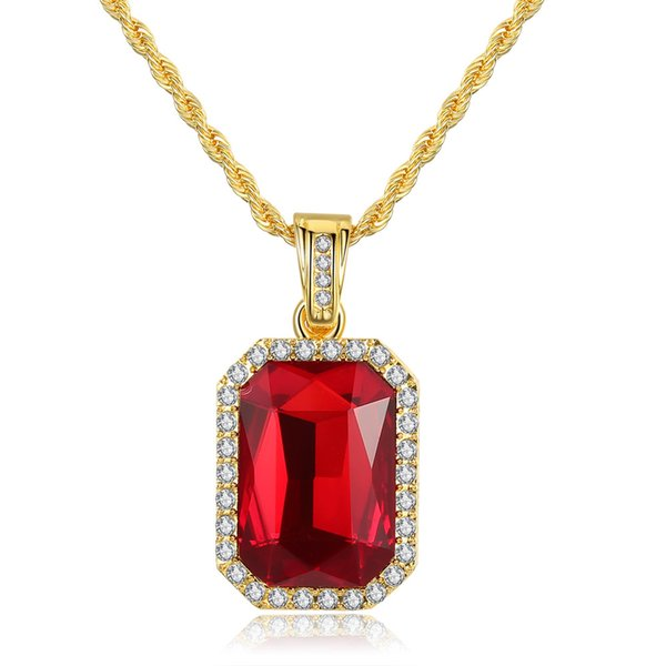 Euramerican hot sell square Imbue Ruby inset red Zircon crystal charm pendant necklace hiphop necklace jewelry for woman man gift