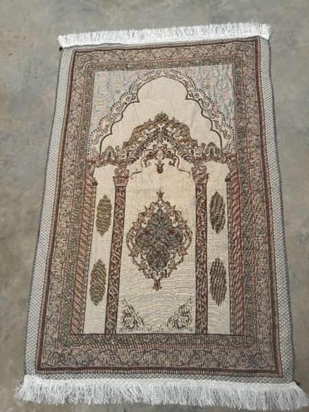 top popular Islamic Muslim Prayer Mat 70*110 Saudi Arab Turkish Dubai Prayer Rug Home Wear Ramadan Cotton Soft Blanket Carpets Mats GGA2207 2021