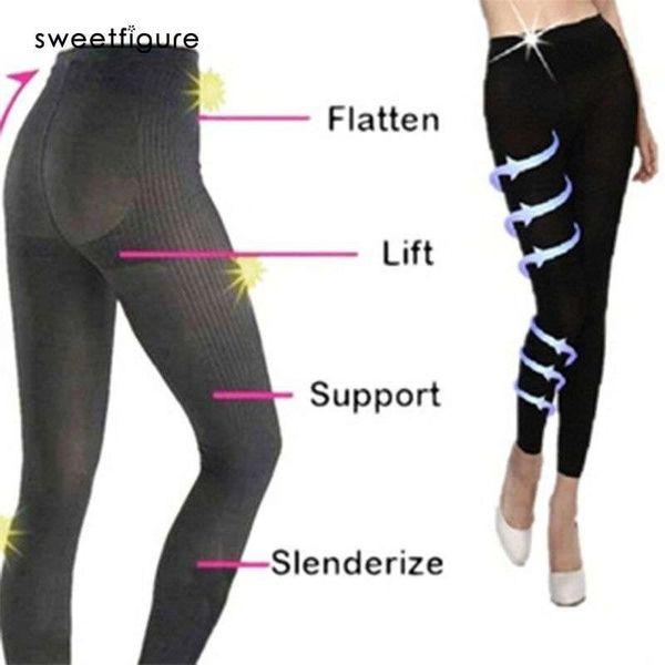 Black Women Yoga Leggings Body Shapewear High Waist ladies night three-stage compression socks function Beautiful leg pants size M L
