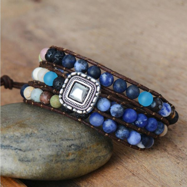 new Natural Stone Wrap Bracelet For Women Lava Beads Vintage Leather Woven Bracelet Beads Jewelry Wholesale