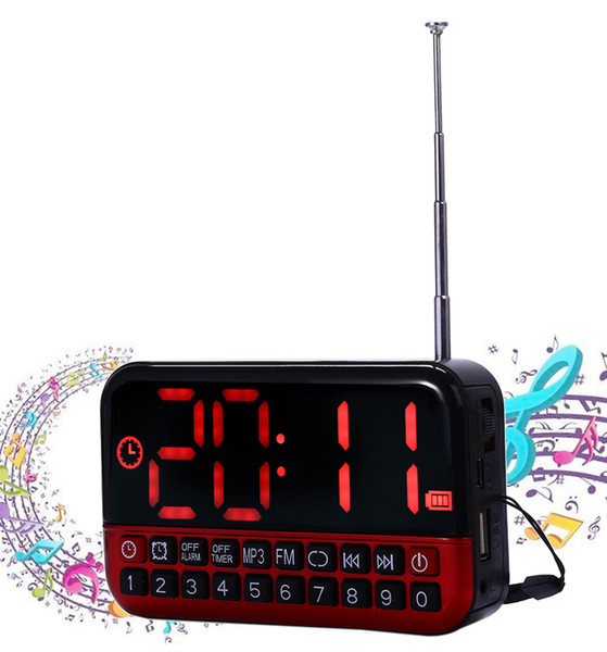 L80 FM Radio Player Speaker LCD Screen Personalized Portable with Alarm Clock function Radio Card MP3 Speaker