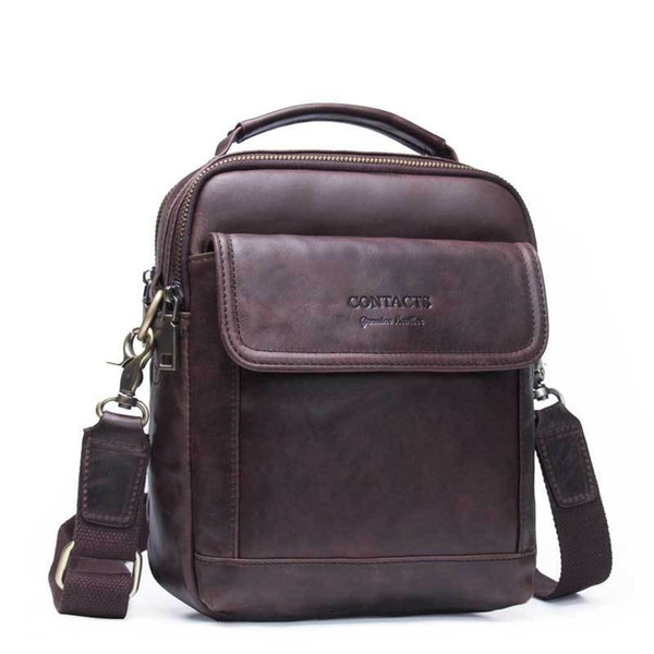 Top Quality Genuine Leather Men Business Shoulder Bag Famous Brand Cross Body Messenger Bags Cowhide Handbag Tote Flap