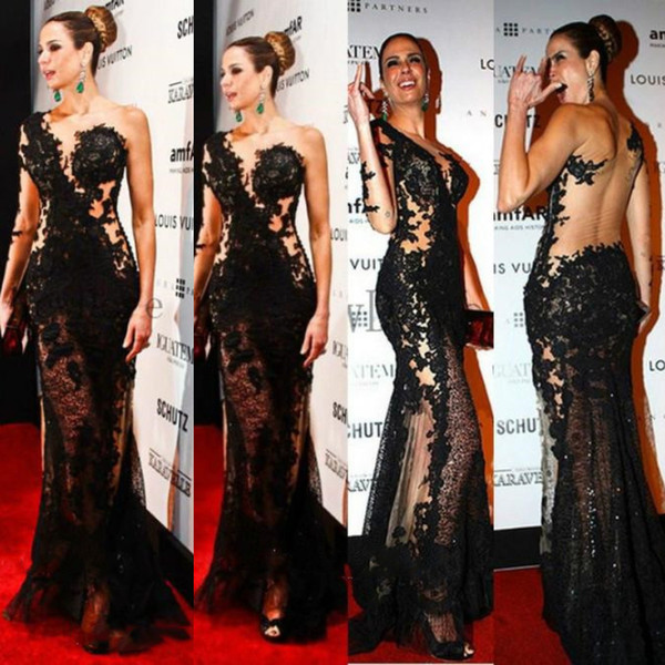 Sexy Black Mermaid Prom Dresses Long 2018 One Shoulder Sweep Train Lace Appliques See Through Evening Gowns Celebrity Party Dress