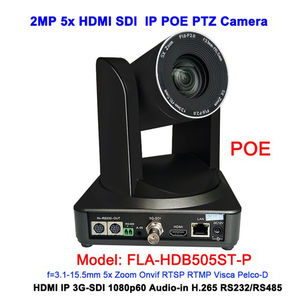 Black Color 2MP Full HD 1080P 5X Professional RJ45 POE IP HDMI 3G Sdi Ptz  Camera For Web VC System Ip Based Cameras Ip Based Cctv Camera From
