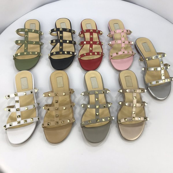 2019 Rihanna Leadcat Suede Slippers Designer Sandals Luxury Slide Summer Fashion Wide Flat Slippery Sandals Slipper Flip Flop yz19012510