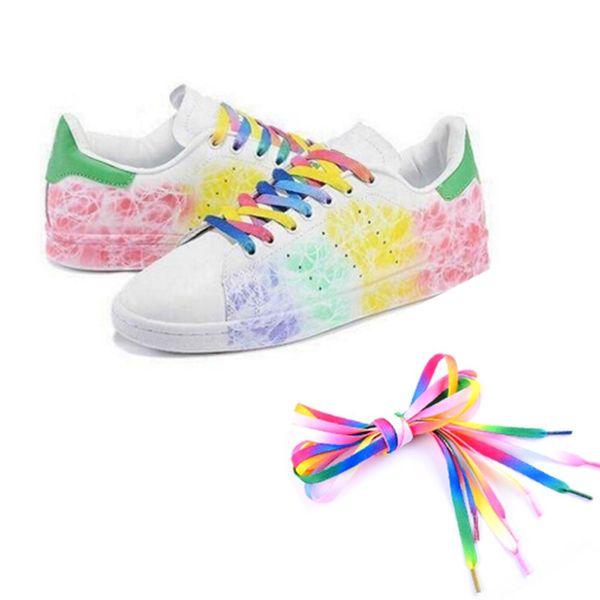 1Pair 110cm Multi colors Rainbow Flat Canvas Athletic Shoelace Sport Sneaker Shoe Laces Boots Strings Drop Shipping