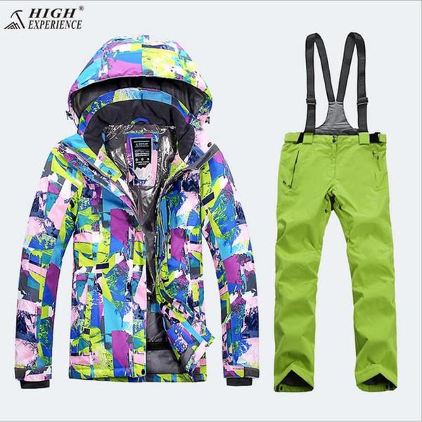All'ingrosso- 2018 Tuta da sci per donna Thermal Outdoor Sport Wear Sci Snowboard Giacca antivento impermeabile Pant Super Warm Suit femminile inverno