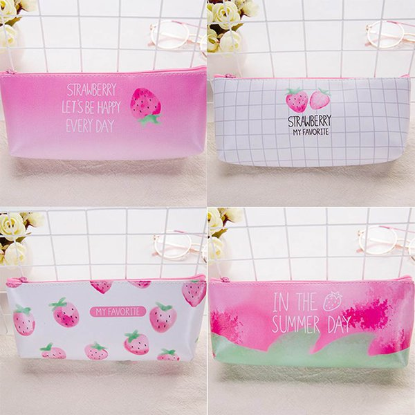 1 unid Útiles escolares Cute Kawaii Strawberry PU Pencil Bag Stationery Storage Organizer Bag BoysGirls Pencil Case