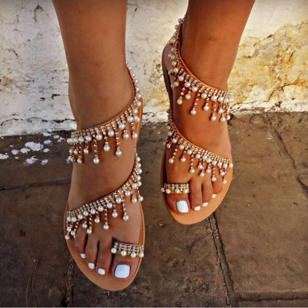Sapatos de verão Mulheres sandálias 2019 Pérola Flats sandálias gladiador mulheres Moda Corda Bead praia sapato feminino