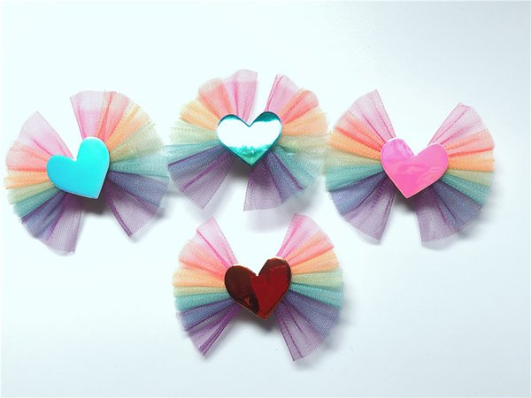 Boutique ins 20pcs Fashion Cute Glossy Laser Love Heart Bowknot Hairpins Gradient Rainbow Bow Hair Clips Princess Hair Accessories