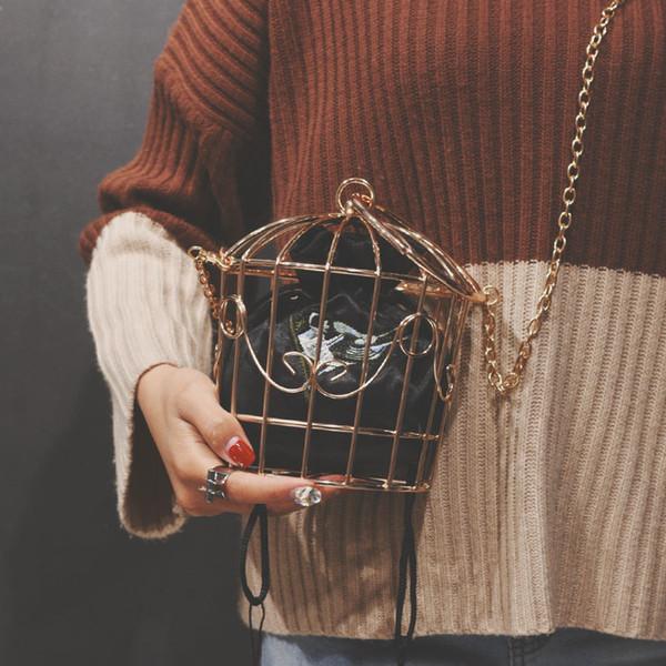 Sac de soirée pour les femmes de la cage à oiseaux Embrayage en métal Cadre de broderie Seau Cage à oiseaux Mini sac bourse femmes Or Gland Sac à main Y19051702