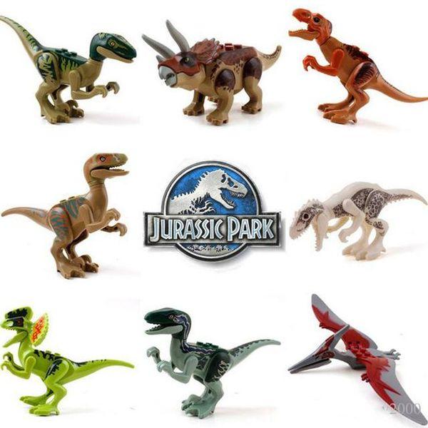 Mini figures Jurassic Park Dinosaur blocks 8pcs a lot Velociraptor Tyrannosaurus Rex Building Blocks Sets Kids Toys Bricks gift
