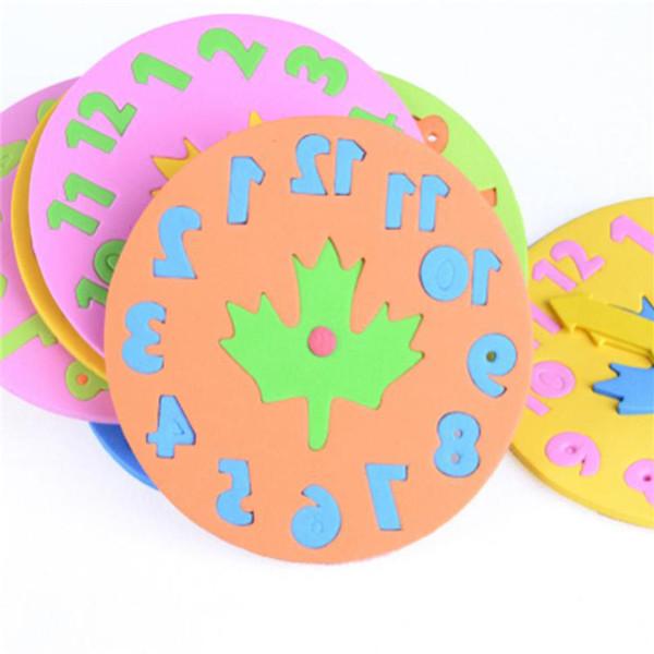 1 UNIDS niños DIY Eva reloj de aprendizaje juguetes educativos divertido juego de rompecabezas juguetes para bebés regalos 3-6 años de edad