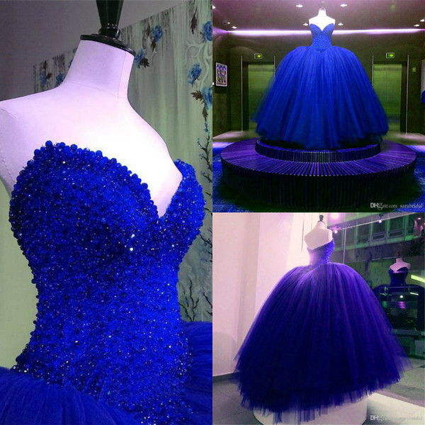 Luxury Pearls Quinceanera Dresses Strapless Sweetheart Ruffle Bling Beaded Royal Blue Prom Dresses Ball Gown Evening Gowns