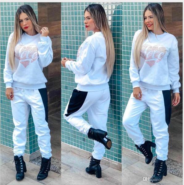 mulheres Designer Treino agasalhos Luxo Outono Marca mulheres Imprimir Fatos Jogger Ternos Jacket + Pants conjuntos de fatos Sporting 3 cores