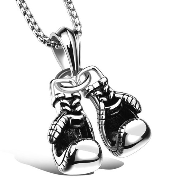 Doppelte Faust Sets Titan Stahl Schmuck Halskette Männer Doppel Paar Boxhandschuhe Anhänger Kette Halskette LJJS158