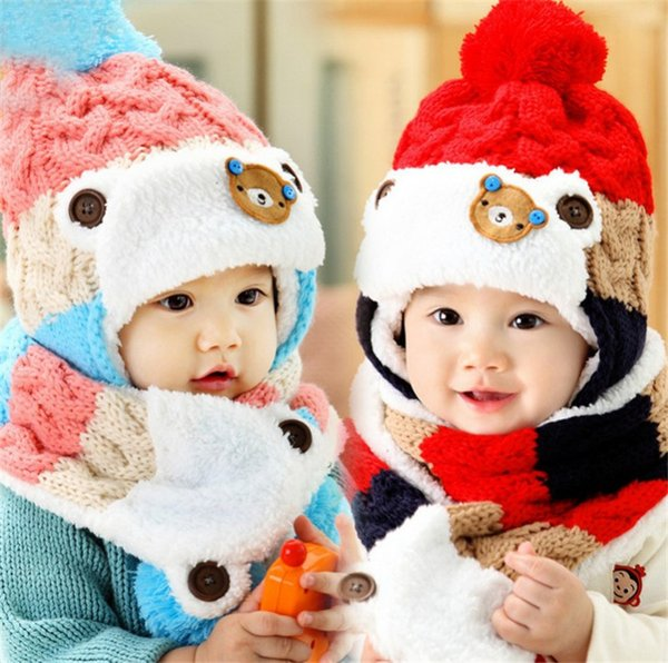 New Little Bear Baby Winter Knitted Beanie Hat And Scarf Set Toddler Kids Warm Balaclava Cap Outdoor Skiing Sports Scarf Sets