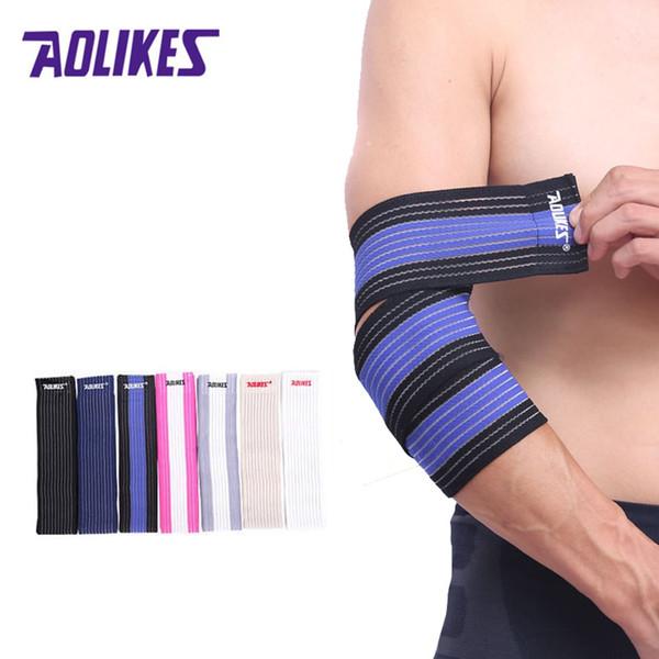 AOLIKES 1 PCS Alta Elastic Bandage Envoltório braço de Basquete Fita de Compressão Cotovelo Suporte Tênis De Voleibol Equipamentos Esportivos gear # 71151