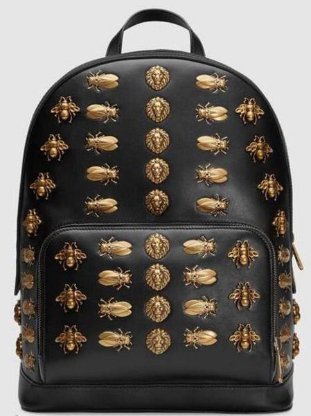 2019 Animal studs leather backpack 406370 Men Backpacks SHOULDER BAGS TOTES HANDBAGS TOP HANDLES CROSS BODY MESSENGER BAGS