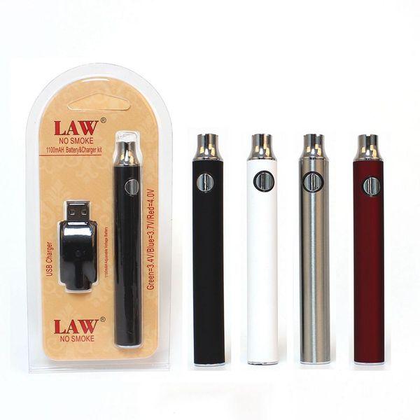 ЗАКОН Предварительный нагрев VV Vape Pen 1100 мАч Аккумулятор с зарядным устройством USB Переменное напряжение Предварительный нагрев Батарея 510 Резьба Батарея Стартовые наборы Blister Pack
