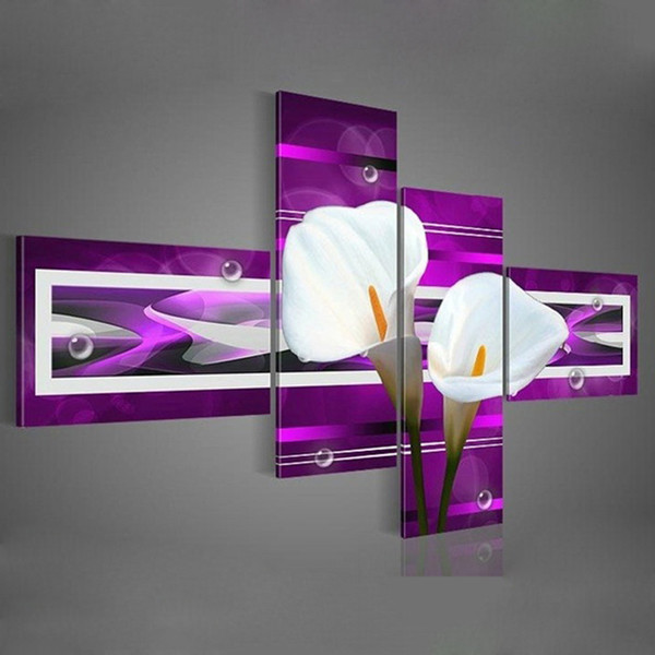 hand-painted wall art black Pure white lilies home decoration Landscape oil painting on canvas 4pcs set DY-042