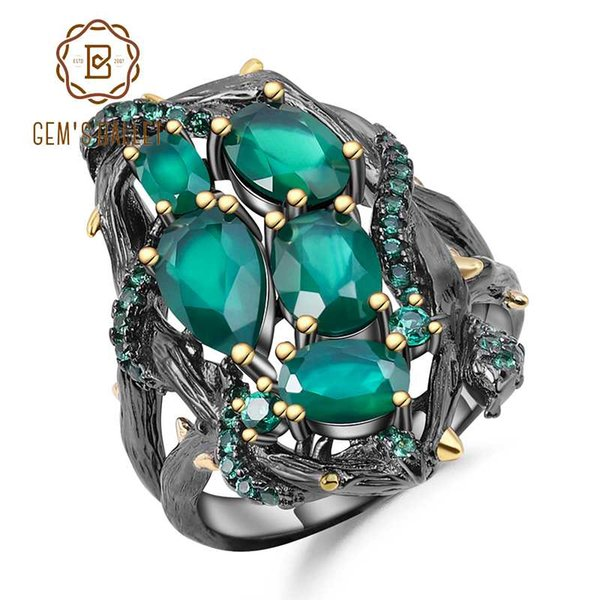 GEM'S BALLET Natural Green Agate Gemstone Ring 925 Sterling Silver Handmade Branch Winding Hollow Ring for Women Jewelry