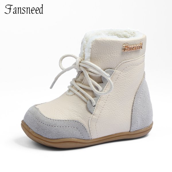 Children's Shoes Mother & Kids Genuine Leather Child Slip-resistant Female Snow Boots Child Boots Male Medium-leg Child Cotton-padded Shoes Soft Outsole Baby Various Styles