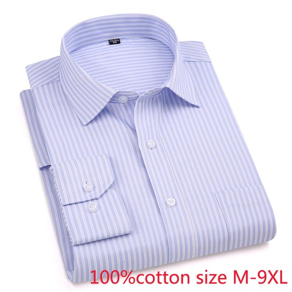 new arrival Striped Spring autumn men formal Extra Large 100%Pure Cotton long sleeve Shirts high quality plus size M-7XL8XL9XL