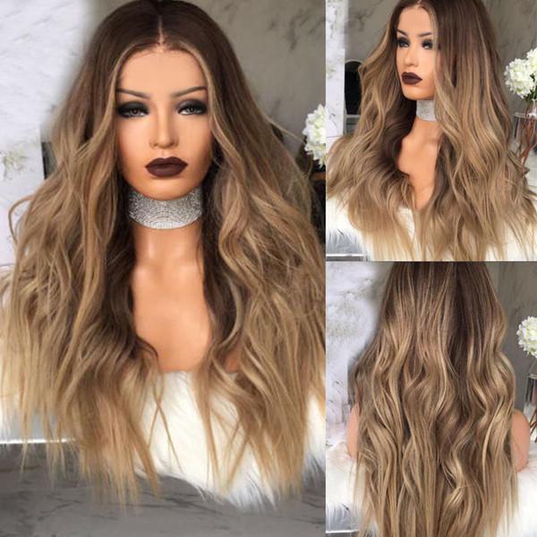 Frauen-lange gelockte blonde Ombre-Perücken-synthetische Haar-natürliche volle gewellte Perücke Großbritannien
