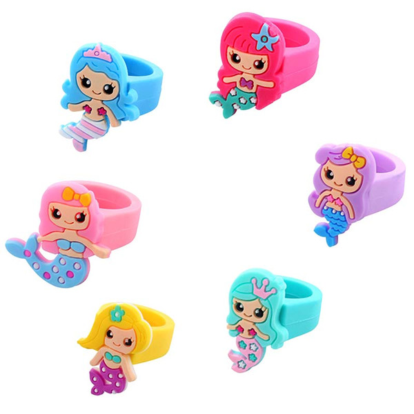 1000Pcs Random Color Cute Mermaid Silicone Rings Fashion Jewelry Gift For Girls Kids Birthday Gathering Christmas Festival