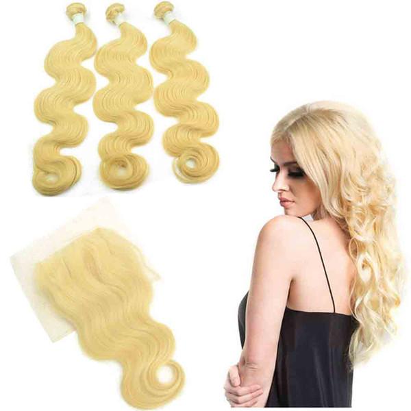Brezilyalı Perulu Sarışın İnsan saç demetleri kapatma ile vücut dalga 613 sarışın remy İnsan saç uzantıları dalgalı bakire ham saç ürün örgüleri